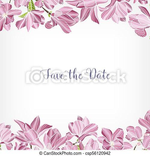 Cuadrado, marco, fecha, plants., frontera, adornado, rosa, magnolia ...