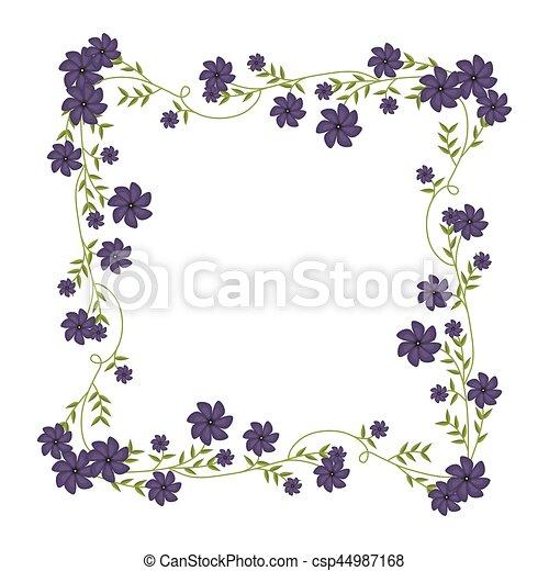 Cuadrado Marco Ornamento Enredaderas Flores Violetas Cuadrado
