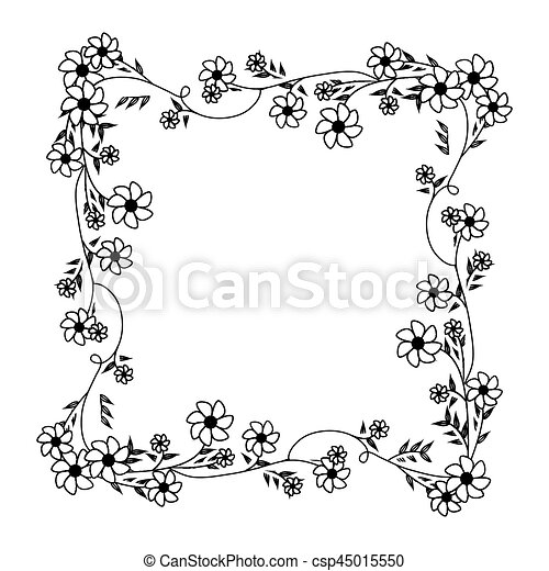Cuadrado Marco Ornamento Enredaderas Violeta Monocromo Flores