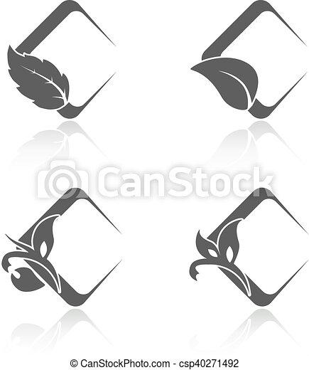 Simbolos de naturaleza vegetal con hojas, iconos naturales cuadrados - csp40271492