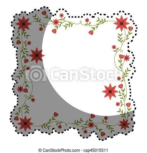 Cuadrado Pegatina Enredaderas Flores Marco Rojo Cuadrado