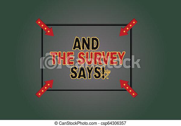 Señal de texto mostrando y la encuesta dice. Resultados fotográficos conceptuales de las encuestas que muestran contornos cuadrados de retroalimentación con flechas de esquina apuntando hacia el fondo de color. - csp64306357