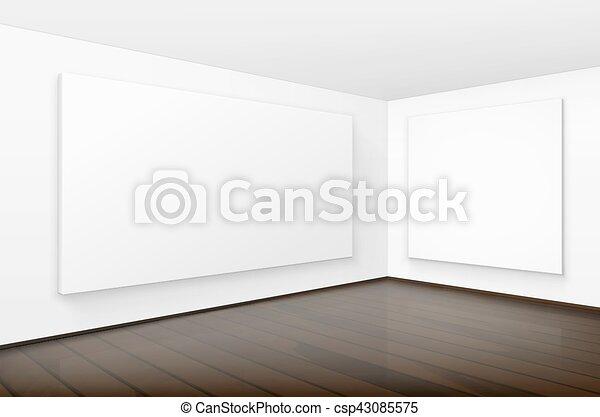 Cuadros, paredes, blanco, marcos, carteles, blanco, vacío ...
