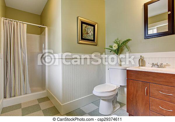 Cuarto de baño, a cuadros, piso, walls., verde, azulejo, blanco ...