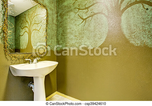 Fotos De Cuartos De Bano Pintados.Cuarto De Bano Arte Pintado Moderno Paredes Verde