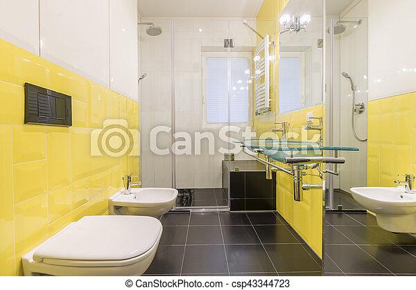 Cuarto de baño, azulejos, amarillo, modernly, diseñado ...