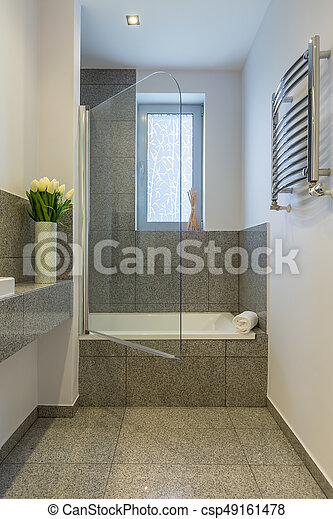 Pequeño, cuarto de baño, azulejos, beige.
