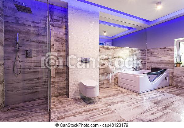 Cuarto de ba o azulejos ducha vidrio m rmol caba a for Azulejos de marmol