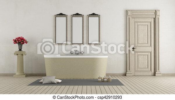 cuarto de baño, bañera, piedra, clásico