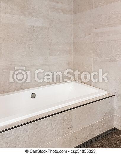 Cuarto de baño, cerámico, paredes, beige, tonos, azulejo ...