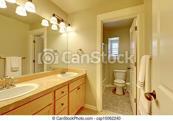 Cuarto de baño, clásico, dos, color., fregadero, beige. Clásico ...