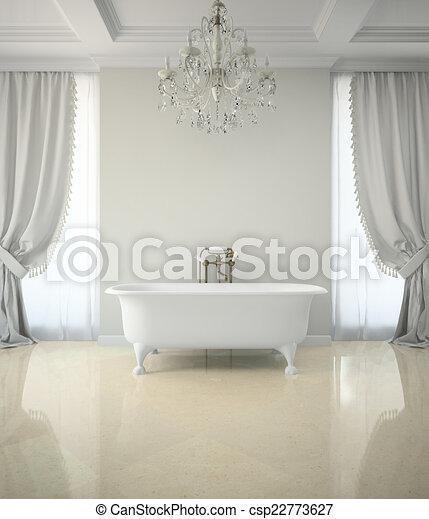 Cuarto de baño, clásico, interpretación, araña de luces, interior, 3d.