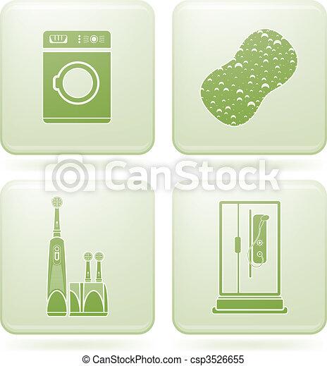 cuarto de baño, cuadrado, iconos, cobalto, 2d, set: - csp3526655