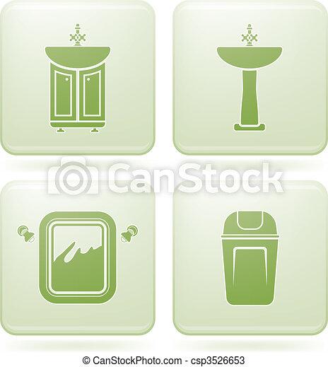 cuarto de baño, cuadrado, iconos, cobalto, 2d, set: - csp3526653