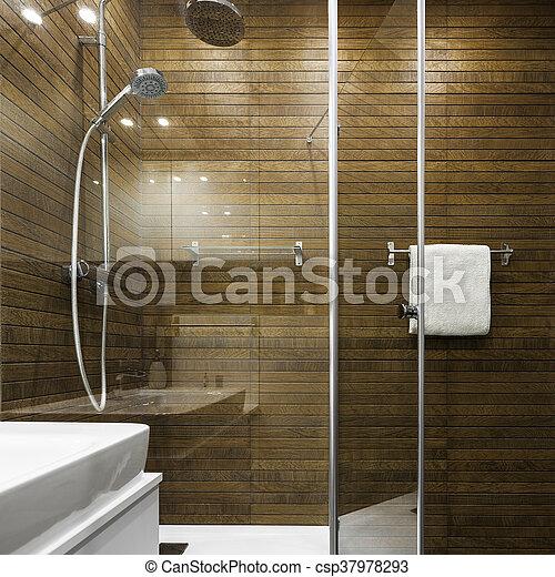 Cuarto de baño, diseño, escandinavo. Cuarto de baño, de madera ...