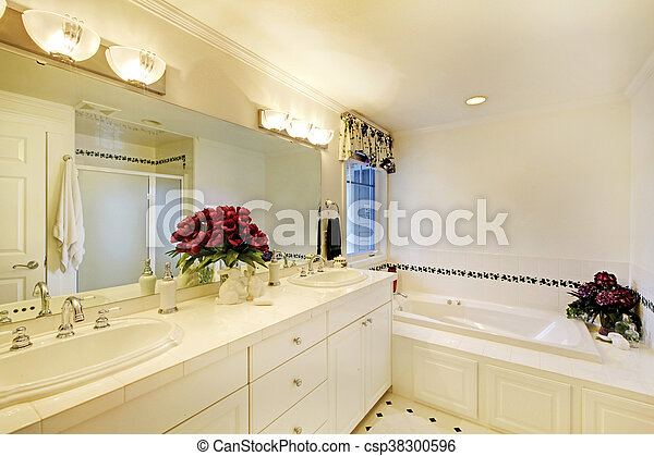 cuarto de baño, elegante, flowers., interior, blanco, adornado