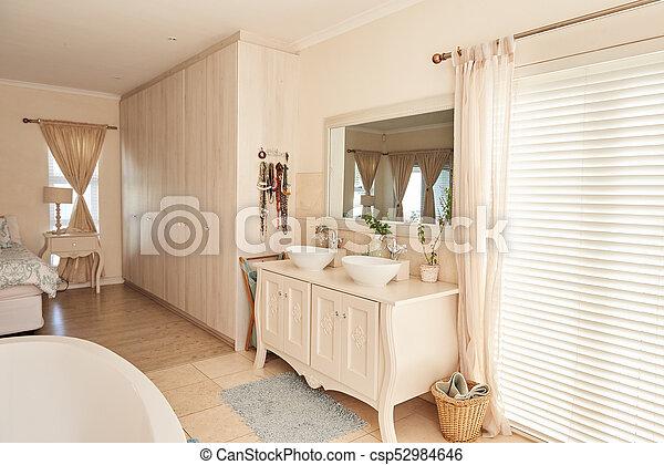cuarto de baño, elegante, suburbano, moderno, dormitorio, interior, hogar