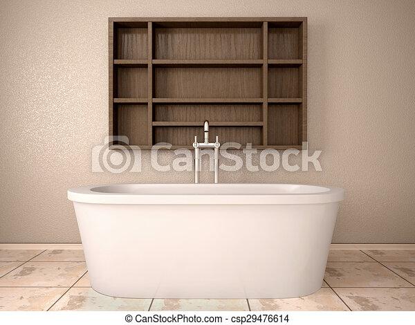 Una ilustración 3d del baño moderno con estanterías de madera.