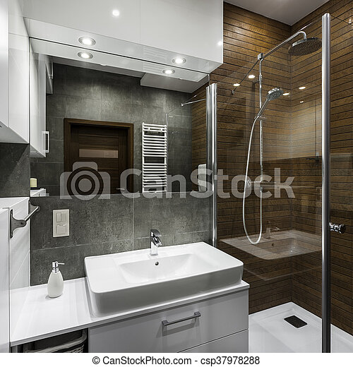 Baño al estilo escandinavo. Un pequeño espacio de baño ...