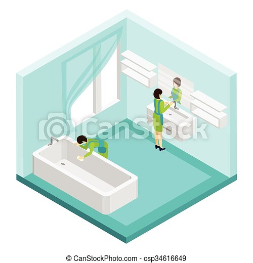 Cuarto De Baño Limpieza Ilustración Gente Cuarto De Baño Gente