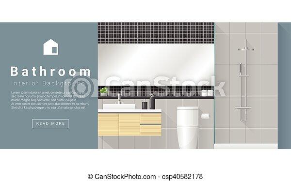 Diseño de interiores fondo de baño moderno 1 - csp40582178