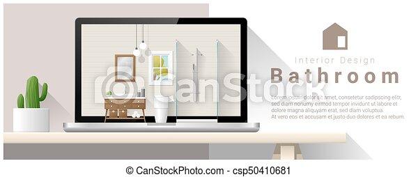 Moderno diseño de interiores de baño 2 - csp50410681