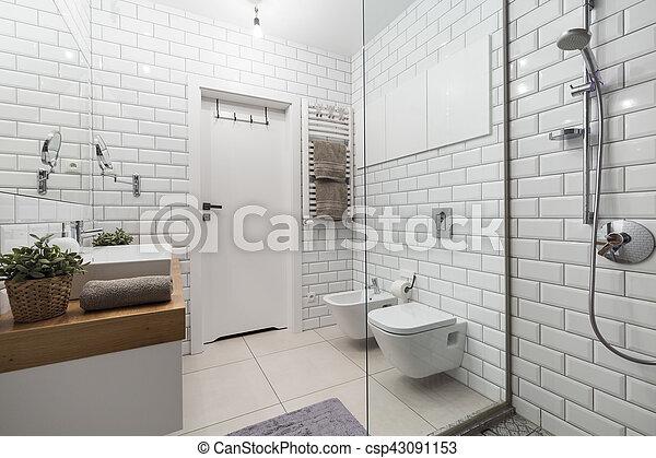 Cuarto de baño, moderno, azulejos, blanco. Imagen, azulejos ...