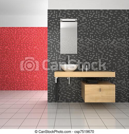 Cuarto de baño, moderno, azulejos, negro, rojo blanco.