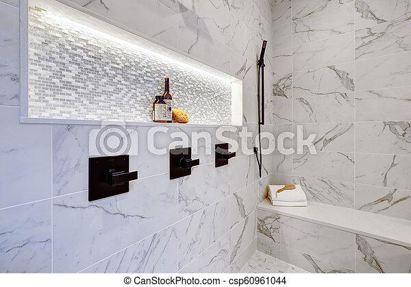 cuarto de baño, moderno, azulejos, ducha, maestro, lujo, interior, hogar,  mármol blanco