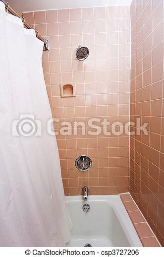 Cuarto de baño, moderno, azulejos, adornado.