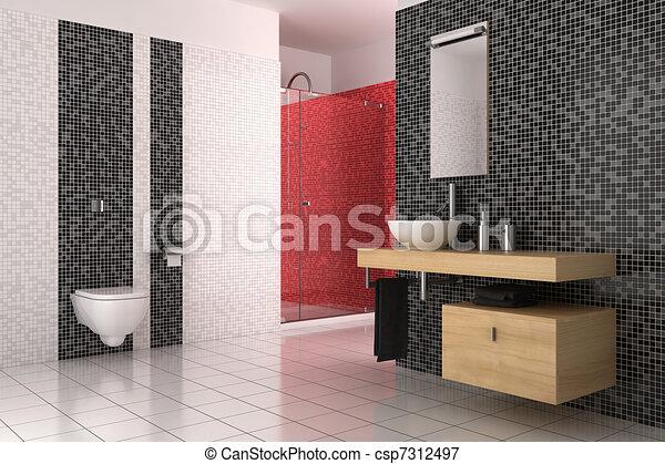 Cuarto de baño, moderno, azulejos, negro, rojo blanco ilustraciones ...