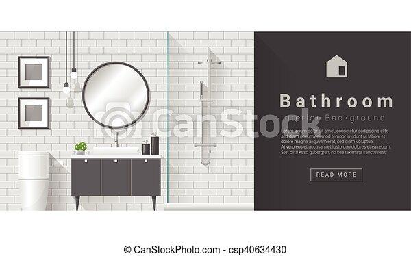Diseño de interiores de cuarto de baño moderno - csp40634430