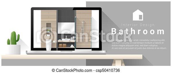 Diseño moderno de interiores de baño 4 - csp50410736