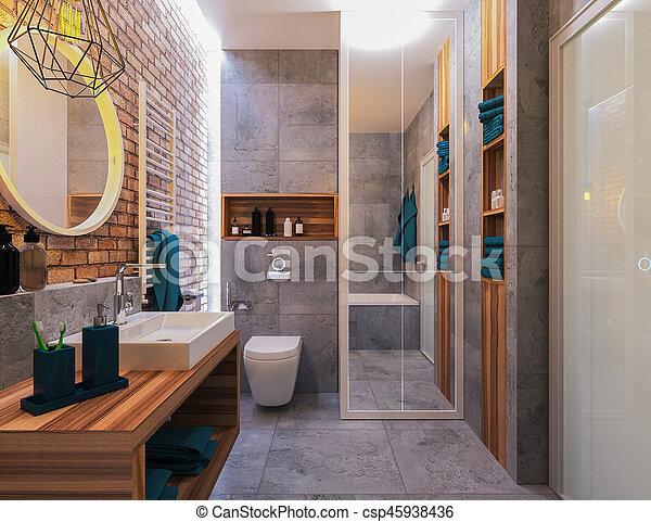 Cuarto de baño, moderno, diseño. Interior, cuarto de baño ...