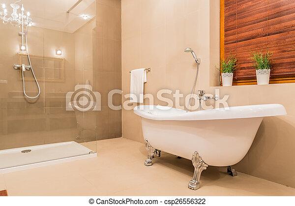 Cuarto de baño, moderno, diseño. Cuarto de baño, porcelana, moderno ...