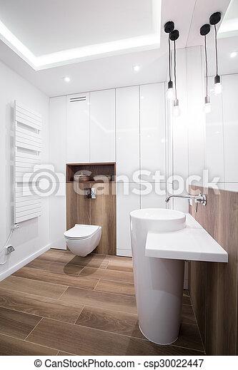 Cuarto de baño, moderno, diseño. Piso de baño, de madera, imagen ...