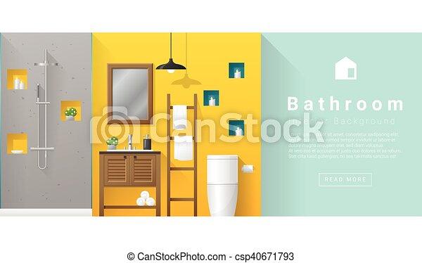 Diseño de interiores de baño moderno fondo 5 - csp40671793