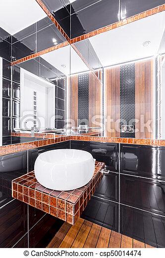 Cuarto de baño, moderno, diseño. Cobre, cuarto de baño, moderno ...