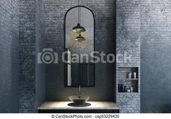 Cuarto de baño, moderno, espejo. Cuarto de baño, desván ...