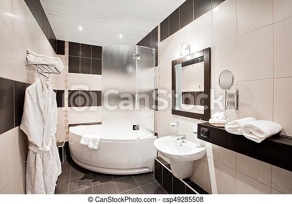 Cuarto de baño, moderno, lujo, interior, ventana., bañera ...