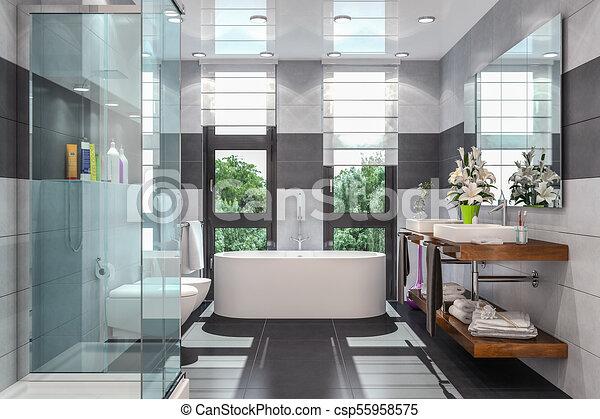 Cuarto de baño, moderno, render, 3d. Grande, cuarto de baño, moderno ...