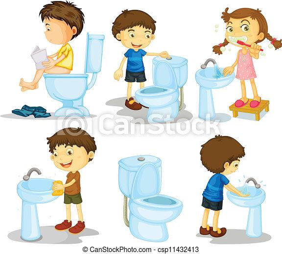 Niños y accesorios de baño - csp11432413