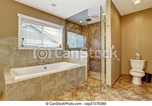 Cuarto de baño, puerta, moderno, ducha, vidrio, interior. Condición ...
