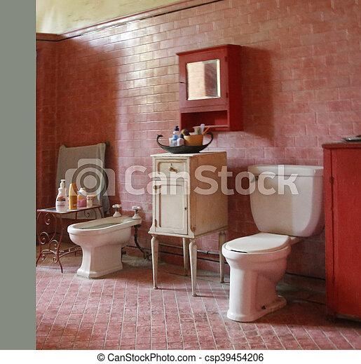 Cuarto de baño, tema, período, rojo. Cuarto de baño ...
