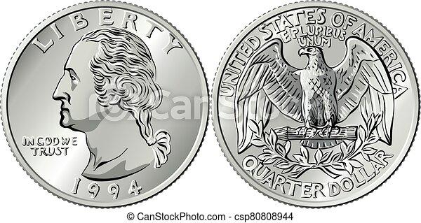 cuarto, dinero, moneda, norteamericano, washington, centavo, 25 - csp80808944