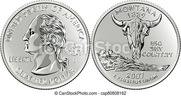 cuarto, dinero, montana, moneda, estados unidos de américa, washington, centavo, 25 - csp80808162