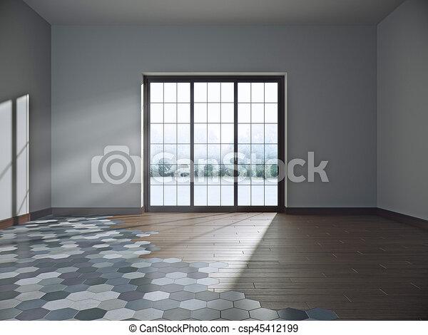 Cuarto oscuro, ilustración, grande, ventana., vacío, 3d.