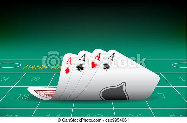 Cuatro ases jugando a la carta - csp9954061