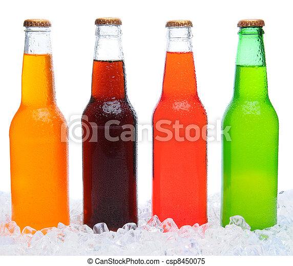 cuatro, botellas, hielo, soda - csp8450075