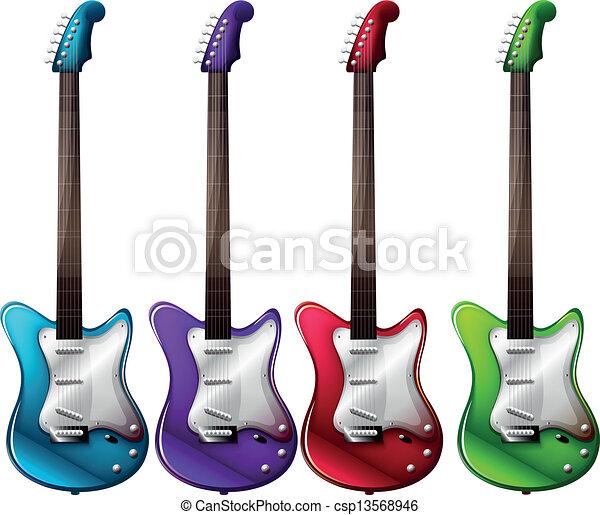 Grficos vectoriales EPS de cuatro colorido guitarras elctricas